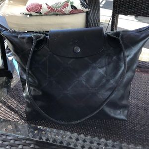 Long champ bag in black, barely used